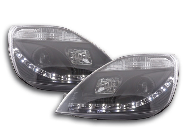 Scheinwerfer Set Daylight LED TFL-Optik Ford Fiesta Typ MK6 03-07 schwarz